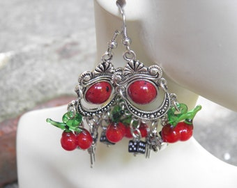 Pin Up Girl Earrings, Sterling Silver and Pewter, Red Handmade Artisan Lampwork Glass Cherry Rockabilly Jewelry, Pistols, Black Dice, Retro