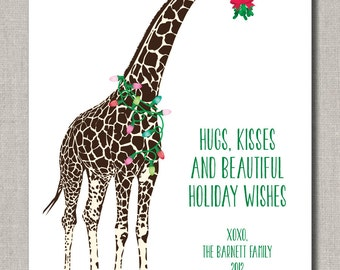 Holiday Greeting Card - Set of 24 flat cards - Personalized Giraffe Holiday Wishes by Abigail Christine Design