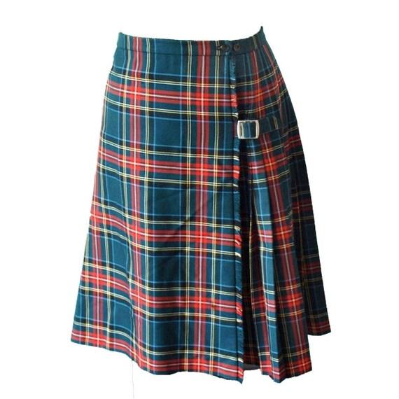 Vintage 1970s dark green pleated tartan check plaid wool skirt by Fletcher Jones small to medium   Sale, save ten pounds
