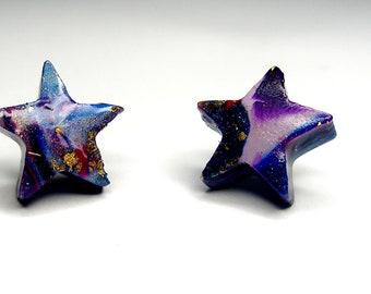 Star Stud Post Earrings Star Post Earrings Blue Star Stud Earrings Blue Star Post Earrings Polymer Clay Hand Made