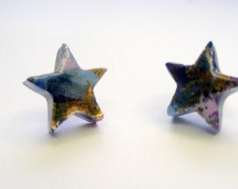 Star Stud Earrings Star Post Earrings Blue Star Stud Earrings Blue Star Post Earrings Star Jewelry Polymer Clay Earrings