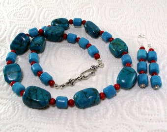 Colorful Turquoise and Red Coral Necklace and Earring Set