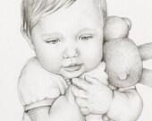 Custom Portrait Drawing, one 8x10 portrait of one child, Pencil Drawing Commission Portrait, child portrait, baby portrait