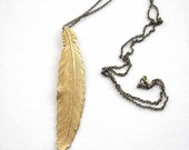 xl feather necklace - brass - vertical feather jewelry