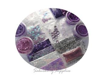 Lilac Nail Art Manicure Kit purple lavender pastel muraski metallic powder glitter supply scrapbooking
