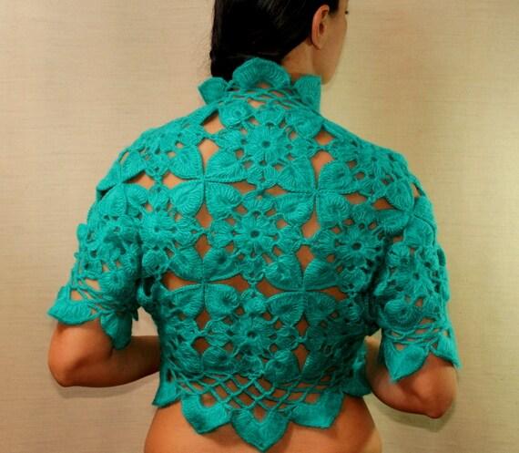 Turquoise Crochet Shrug, Bolero Jacket, Bridesmaid Bridal Shrug Lace Bolero, Wedding Shrug, Jungle Green Crochet Bolero Vest Cardigan  S M L