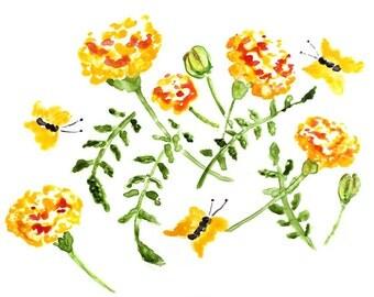 Marigolds Watercolor Art, Flower Print, Orange Bathroom Art, Flower Watercolor Print, Watercolor Painting, Marigolds Painting, yellow