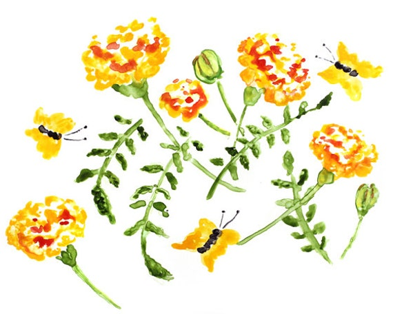 Marigolds Watercolor Art, Flower Print, Orange Bathroom Art, Flower Watercolor Print, Watercolor Painting, Marigolds Painting, yellow