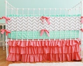 Coral Crib Bedding, Chevron Baby Bedding, Mint and Coral Nursery, Baby Girl Bedding Set, Sweet Sorbet Crib Set by Lottie Da Baby
