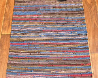 Handwoven Rug - 27x53 Recycled T Shirts: Brown, blue, red, olive. Washable & Reversible