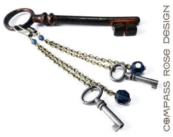 Steampunk Earrings Vintage Blue and Antique Skeleton Key Authentic Upcycled Long Chain Earrings Smokey Blue Drop Accent