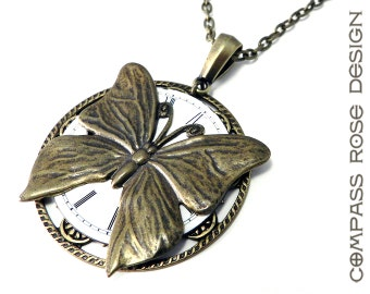 Steampunk Jewelry - Time Flies Antique Pocket Watch Face Pendant - Large Victorian Butterfly, Steampunk Jewelry by Compass Rose Design