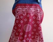 Bandanna Top Blue Jean Denim Camisole Blouse Ladies Cowgirl Red - Size Medium