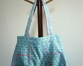 Hobo Bag Shabby Chic :Purse Feed Sack Tote Calico Vintage Floral Green  - Size Large