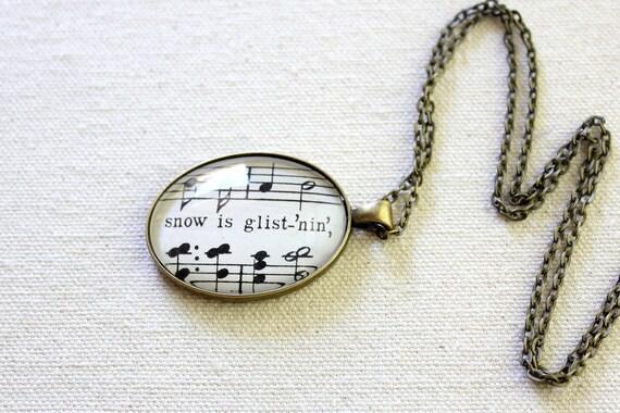 Christmas carol sheet music necklace from winter wonderland snow is glistenin