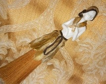 """Art Deco French Half Doll Clothing Broom """"D Auger"""" Signed Porcelain Coquette Clothing Brush Antique Vanity Collectible"""