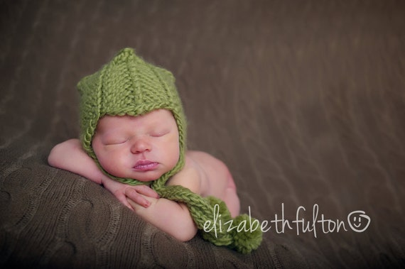 Scandinavian Style Newborn Helmet Hat, Aviator Hat, Knit Baby Hat, Pilot Cap, Handknitted Green Helmet Hat, Newborn Baby Boy Photo Prop,