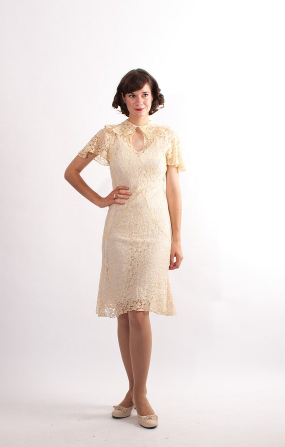 Vintage 1930s Lace Dress - 30s Wedding Dress - Ivory Floral Lace