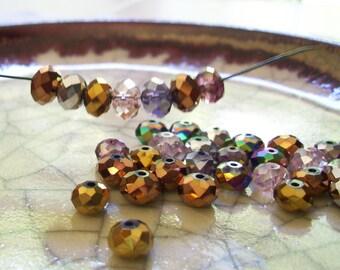 Autumn Crisp Mix - 36 beads - Faceted Rondelle Beads