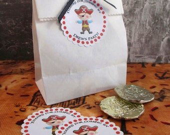 Red Pirate Boy Party Custom Party Favor Stickers - Ahoy Matey Collection