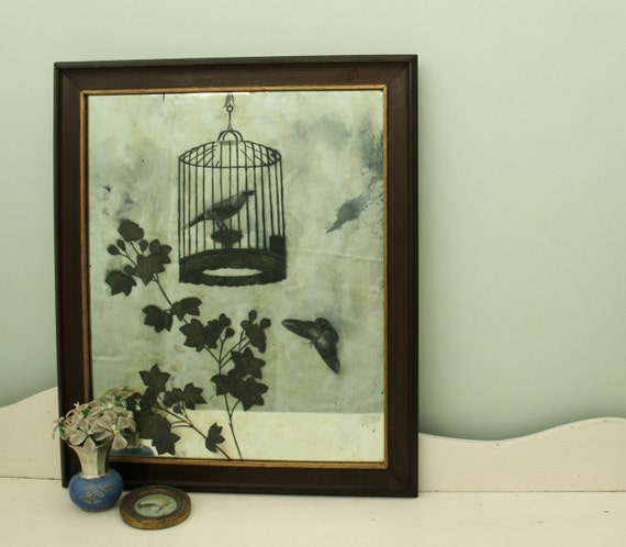 Sublime Antique Reverse Etched Mirror with a Bird in a Cage