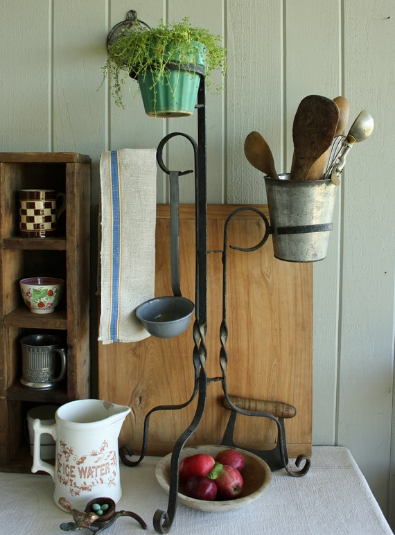 Vintage Wrought Iron Black Plant Stand