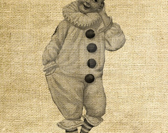 INSTANT DOWNLOAD - Pierrot  Clown Vintage Illustration - Download and Print - Image Transfer - Digital Sheet by Room29 Sheet no. 1031