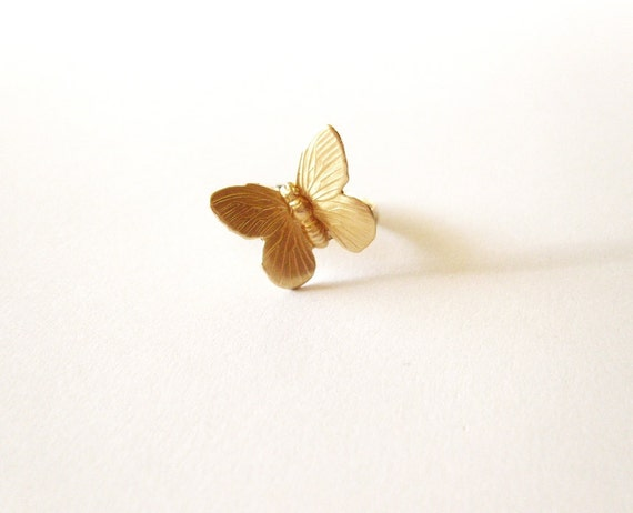 Gold Butterfly Ring Nature Lover Jewelry Forest Insect Garden Fairy Accessories Stacking Rustic Woodland Weddings Unique Womens Gift For Her