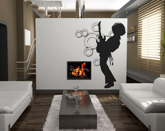 Vinyl Wall Decal Sticker 70's Inspired Afro Guitar Player OSAA141s