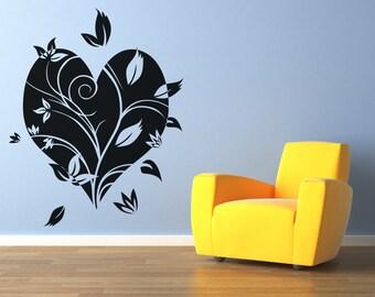 Vinyl Wall Decal Sticker Flower Heart OSAA360s