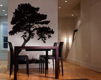 Vinyl Wall Art Decal Sticker Tree Leaves Grass 7ft Tall item 130-7ft