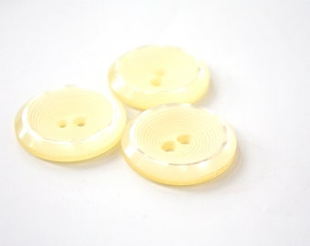 Three Medium Vintage Buttons -  1950s- 1960s Yellow Textured Plastic Buttons - New Old Stock Buttons - Shimmery Circle Buttons