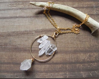crystal point pendant necklace, crystal point beadwork necklace, rock crystal necklace, mineral necklace, gypsy necklace