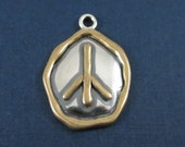 Sterling Silver and Bronze Peace Sign Pendant