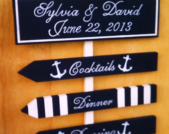 Nautical Wedding Signs ANCHOR, STRIPES, STARFISH, Beach Weddings, Military Weddings, Boat Weddings 4 Sign Set