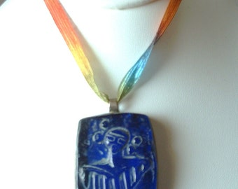 Original Daro Flood Lost Wax Glass Casting Sterling Silver HOPI WOMAN Pendant One of a Kind