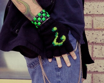 Knit Fingerless Gloves, Mens Green Question Mark made to order