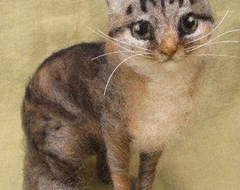 Needle felted cat, custom portrait of your pet