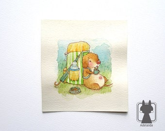 Dachshund with backpack on a trip - small original illustration - watercolor picture - small dog art