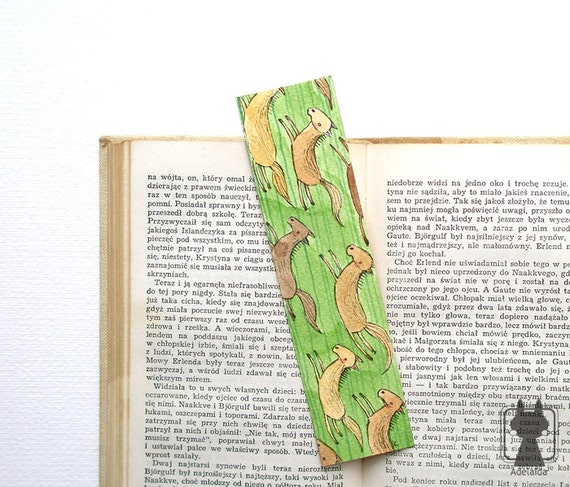 Cute bookmark with Wild horses - hand painted original and unique - running