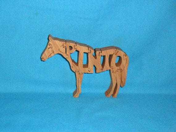 Pinto Horse Handmade Scroll Saw Wooden Puzzle