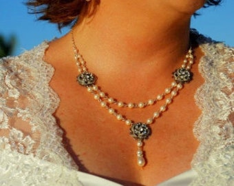 ivory Swarovski Pearl Necklace Bridal Statement pearl Necklace Pearl Rhinestone Necklace Bridal Rhinestone Necklace pearl Necklace ROSELANI