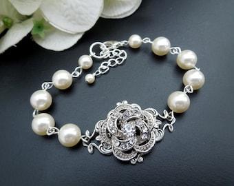 Bridal Bracelet ivory swarovski pearl and crystal Bracelet Statement Bridal Cuff Wedding Rhinestone Bracelet swarovski crystal ROSELANI