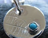 Half Price December Turquoise Silver Leaf Disc Necklace on Ball Chain : December Birthstone