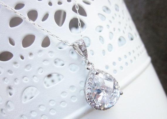 Wedding pendant, rhinestone bridal necklace on sterling silver chain, vintage