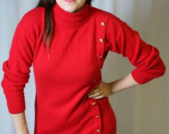 Vintage 80s Sweater Dress in Lipstick / Holiday Red, military details S-Med