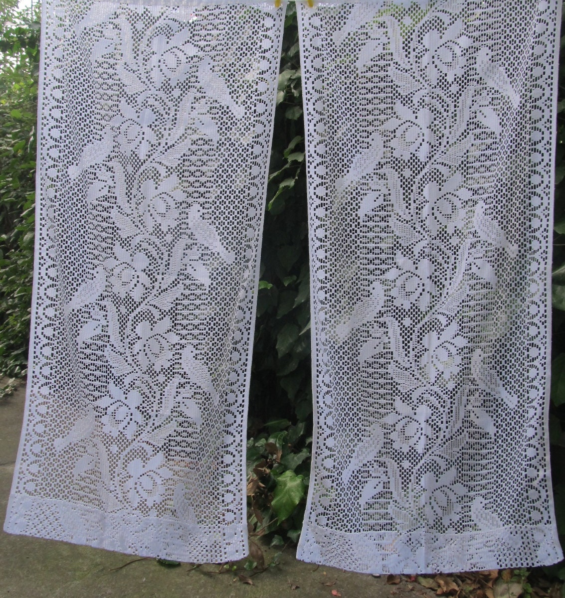french lace panels lace curtains white lace by hatchedinfrance