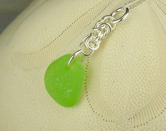 Chainmaille Necklace GENUINE Green Sea Glass Sterling Silver