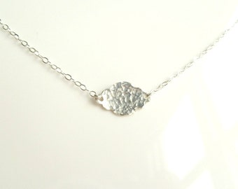 Silver Cloud Necklace - .925 sterling silver hammered little cumulus puff cloud pendant and chain - Winter Weather Forecast