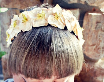 taupe flower crown headband for women, teen, and girls: brietta